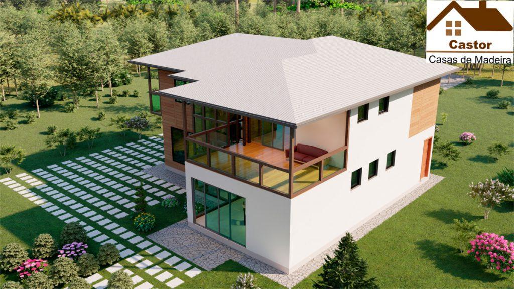 casa de madeira modelo canadá